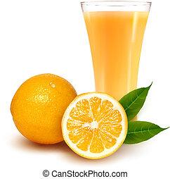 naranja fresca y vaso con jugo
