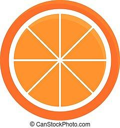 naranja, icono, rebanada, vector, ilustración