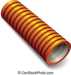 naranja, instalación de cañerías, tubo, vector, corrugado