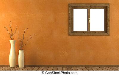 naranja, pared, ventana