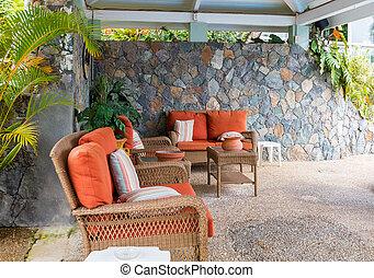 naranja, patio, cojín, muebles