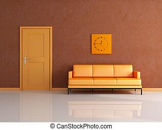 naranja, salón, marrón