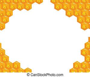 naranja, sobre, vector, plano de fondo, honeycombs.