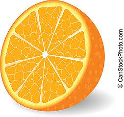 naranja, vector, fruta