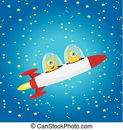 naranja, vector., nave espacial, extranjero, espacio