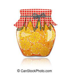 naranja, vidrio, pote de atasco, preservado