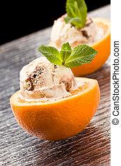 Naranja y helado - postre