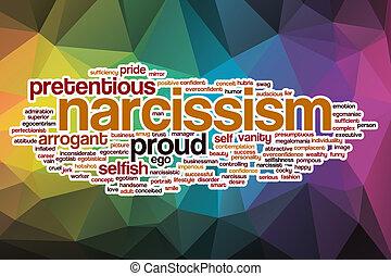 narcisismo, resumen, palabra, nube, plano de fondo