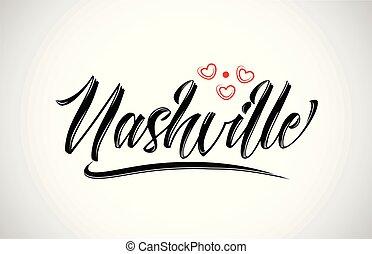 nashville, diseño, logotipo, corazón, ciudad, icono, rojo, tipografía