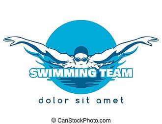 natación, logotipo, equipo, vector