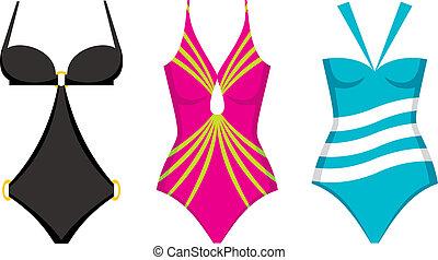 natación, tres, trajes