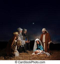 Natividad navideña con hombres sabios