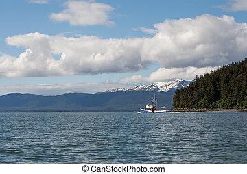 natural de alaska, sudeste, arrastrero, pesca