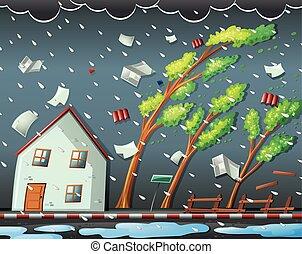 natural, huracán, desastre, escena