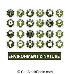 Naturaleza, ecología, botones brillantes, vector