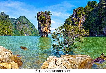 nature., isla tropical, vista, james, bono, paisaje, tailandia