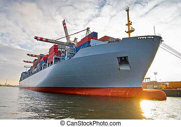 nave de envase, carga, carga