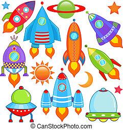 nave espacial, nave espacial, cohete, ovni