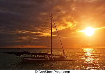 Nave marina puesta del sol