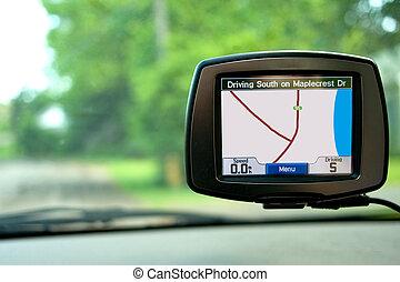 Navegación GPS en auto de viaje