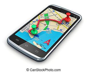 navegación, gps, smartphone
