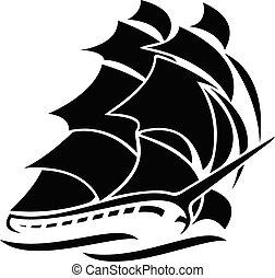 navegación, vector, barco, viejo, ilustración, gráfico, alto