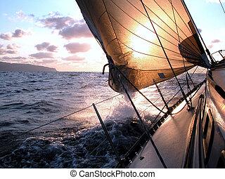 Navegando al amanecer