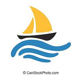 Navegando en el agua, vector logo
