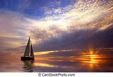 Navegando y atardecer