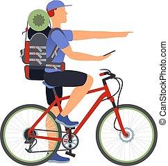 navegante, bicicleta, travel., gps