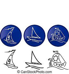 Naves navegantes. iconos gráficos vectores preparados.