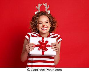 navidad, actuación, alegre, regalo, hembra