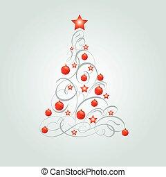 navidad, adornado, árbol