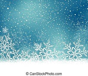 Navidad blanca azul, fondo de invierno con copos de nieve