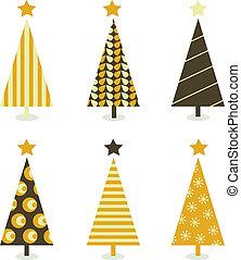 navidad, blanco, árbol, aislado, retro