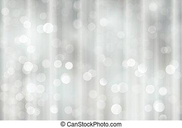 Navidad brillante plateada, luces borrosas de vacaciones, fondo bokeh