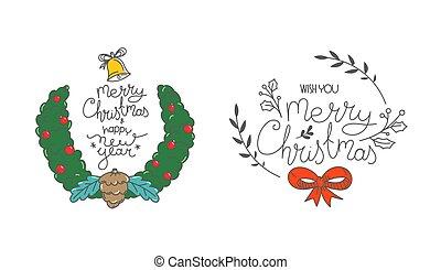 navidad, dibujado, colección, insignia, mano, etiqueta