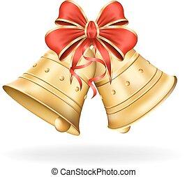 navidad, eps10, ilustración, arco, fondo., vector, decorations., blanco, navidad, rojo, campanas