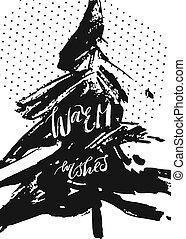 navidad, etiqueta, regalo, calligraphy.