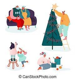 navidad, familia , alegre, chimenea, conjunto, padres, year., gente, caracteres, celebrar, navidades presenta, estación, decorar, villancicos, cantar, scene., niños, ilustración, nuevo, vector, invierno, embalaje, árbol