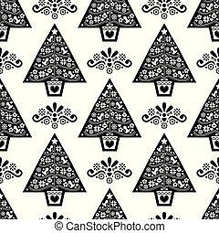 navidad, monocromo, flores, vector, pattern-, aves, escandinavo, seamless, copos de nieve, arte, diseño, árbol, gente, estilo