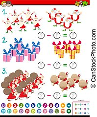 navidad, niños, matemáticas, tarea, caracteres, substracción