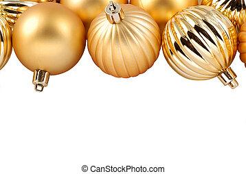 navidad, oro, ornamentos