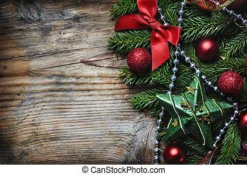 navidad, plano de fondo, de madera
