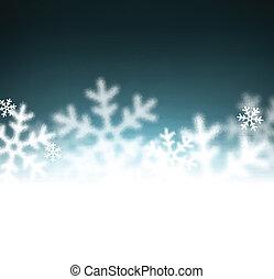 navidad, plano de fondo, defocused, snowflakes.