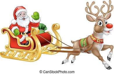 Navidad Santa Claus trineo reno trineo