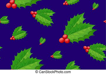 navidad, seamless, caricatura, vector, feriado, decoration., baya acebo, pattern.