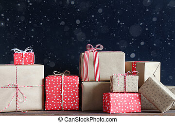 navidad, tabla, regalos, de madera