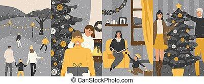 navidad, vacaciones, familia , tarjetas, lindo