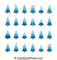 navidad, vector, conjunto, caricatura, árbol, colorido, invierno